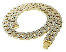 Men's Iced Out Gold Brass Link Chain & Bracelet Set
