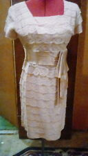Vintage Tiered Eyelash Lace Satin Bow Waist Dress Bombshell Blush Pink