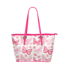 Pink Leather Tote Bag With Pink Butterflies For Beach, Shopping or Travel Bag