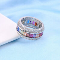 Sz Sapphire Plated Silver 5-12 Jewelry Gem Women Fashion Bridal Multi-Color Ring