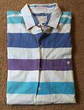 Vintage Cargo Button Up Short Sleeve - Size Small - Purple, Blue, White
