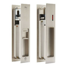 Sliding Door Lock Set with Indicator for Bathroom Door - Satin Nickel