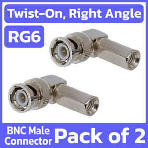 2 Pack BNC Male Right Angle Twist On RG6 Coax Coaxial Cable Connector 90 Degree