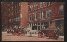 Postcard Chicago Il/Illinois Horse Drawn First Dept Trucks 1907