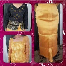 Women's Khmer/Thai Traditional Blk Long Sleeve Beads, Yellow Lace Shirt & Skirt