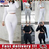 2Pcs Women Crop Top Pants Tracksuit Set Slim Fit Lounge Wear Yoga Gym Sport Suit