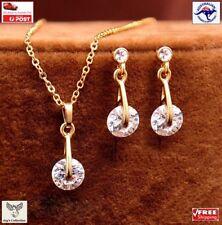 Fashion CZ Crystal Pendant Necklace Earrings Women Chain Jewelry Set [A9Q2~E8]