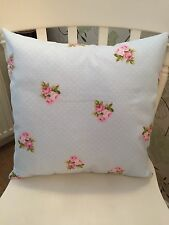 """Fryetts Blue Bouquet Polka Dot Pink Floral Cushion Cover 16"""" Shabby Chic💗"""