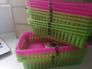 3 Pack Classroom/office Pen & Pencil Basket Trays pink or green