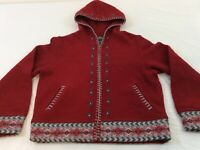 Woolrich Alpine Flowers Ruby Red Womens Small 100% Wool Full Zip Sweater EUC