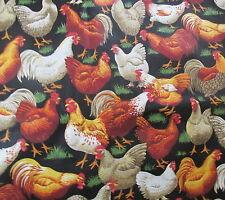 Cranston cotton fabric Chicken rooster black ground grass Bthy half yard cut