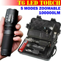 100000LM T6 LED Waterproof Torch Tactical Military Zoomable Flashlight Headlamp
