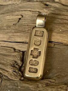 Vintage Millennium 2000 Solid 9ct Gold Ingot Bar Chain Jewellery Pendant 9.4gram