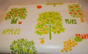 Vintage 60s or 70s wallpaper Apples grapples plums yellow and green Retro 1 roll