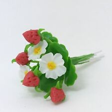 Miniature Clay Flower Strawberry Plant Handmade Clay Dollhouse Accessory