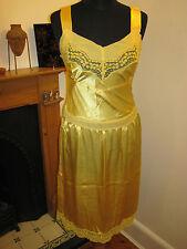 pink soda Silk grunge boho sheer slip dress 10 yellow NEW 1990s style