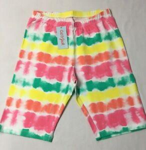 Cat & Jack Girls Size 18 XXL Rainbow Tie Dye Cotton Long Summer Bike Shorts