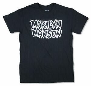 Marilyn Manson White Outline American Family Logo Black T Shirt New Official