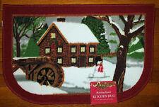 NWT SNOWMAN WINTER LANDSCAPE KITCHEN MAT HOLIDAYS CHRISTMAS DECOR DOOR RUG 17x27