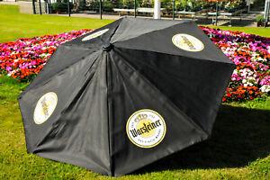 Warsteiner Bier, XXL Gastro Sonnenschirm, Sonnenschutz 250cm Durchm. Schwarz Aus