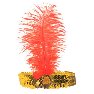 Roaring 20's Gold Sequined Showgirl Flapper Headband with Red Feather