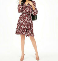INC Women's Floral-Print V-Neck Ruffle Dress, Maroon, Size 12 - L, $90, NwT