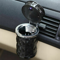 Portable Car LED Ashtray Cylinder Holder Travel Cigar Smoke Remover W/ Lid Cup