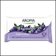 Aroma Antibacterial WET WIPES for Hands  FRESH & CLEAN BLUEBERRY 15pcs.