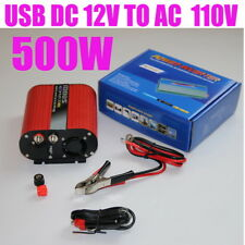 Power Inverter Dual USB 500W Car Red Oval 12V to 120V Cigarette Lighter Plug