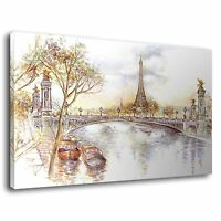 Vintage Paris Watercolour Painting Eiffel Tower Canvas Wall Art Picture Print