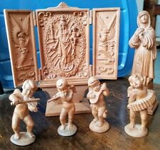 Antique Hand Carved Wood, Folding doors Shrine Mary/Jesus/angels, Mary, 4 Angels