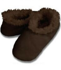 Snoozies Brown Solid Tween Large 6 / 7 Non-Skid Soles Slipper Socks New