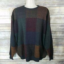 Marc Edwards Vtg Sz M Crewneck Sweater Multi-Color Long sleeve Crewneck Squares