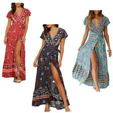 Women's Bohemian Dresses Wrap V Neck Short Sleeve High Split Beach Maxi Dress