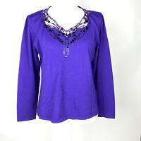 Jacques Vert Purple Top Lace Trim Sequin Embroidery detail sz 16 Blouse ladies