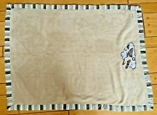 """Cocalo Baby Blanket Brown Striped Trim Airplane Clouds Clean Soft EUC 30"""" x 40"""""""
