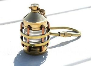 Nautical Brass Lamp Keychain Port Lantern Sailor Captain Vintage Small Gifted