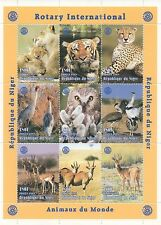ANIMALS OF THE WORLD TIGER LEOPARD OWL 1998 ROTARY INT MNH STAMP SHEETLET