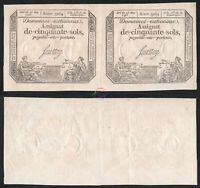 FRANCE 50 Sols Uncut Pair Assignat Saussay 1793 P-A70b XF Extremely Fine