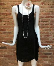 Topshop Black Flapper 1920s Gatsby Charleston Scallop Tassle Fringe Dress UK 10