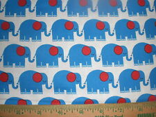 Cotton Fabric-Moda Bungle Jungle - Blue Elephants with Red Eye on White!