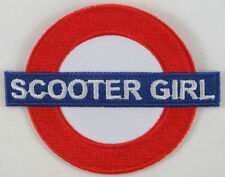 Scooter Girl Underground, Iron on Embroidered Patch, mods, scooterists, 3""