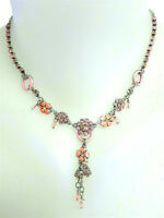 NEW PILGRIM SILVER PLATED CHAIN NECKLACE PINK SWAROVSKI CRYSTALS ENAMEL FLOWERS
