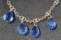 Blue glass & silver vintage Art Deco antique necklace
