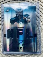 Eagles Nick Foles Signed Rookie Card Worn Jersey Card In Plastic Case #224