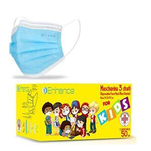 50 mascherine Enhance per bambini AZZURRE