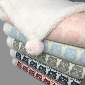 effe bebe Snow Owl Cotton Knit Sherpa Baby Blanket