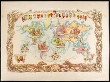 1951 - Mapa del mundo - Litografía de Liozu - World Map - Mapa antigua