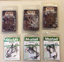 Mustard size 3/0 Aberdeen hooks x 3 packets plus three packs of beads grattis