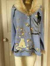 Women's Storybook Knits For HSC Sequined Cat And Horse Fur Collar Sweater Medium